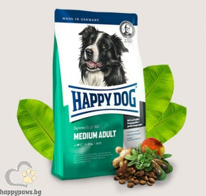 Happy Dog - Adult Medium суха храна за кучета средни породи, над 15 месеца, с пилешко и агнешко, 12 кг.