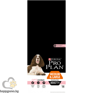 PURINA PRO PLAN - OPTIDERMA суха храна за за възрастни кучета над 7 години от средни и големи породи, с чувствителна кожа, с вкус на сьомга, 14 кг.