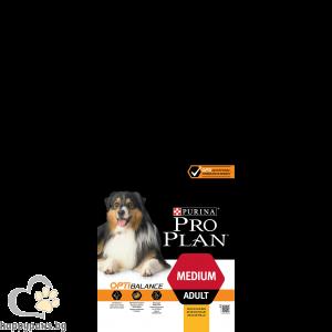 PURINA PRO PLAN - OPTBALANCE суха храна за кучета в зряла възраст от средни породи, с вкус на пиле, 14 кг.