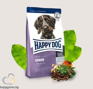Happy Dog - Senior суха храна за кучета средни и големи породи, над 7 години с пилешко и агнешко месо, 1 кг.