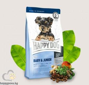 Happy Dog - Mini Baby Junior суха, пълноценна храна за кучета мини и малки породи до 10 кг., и възраст от 1 до 12 месеца, с пилешко, агнешко и морска риба, 1 кг.