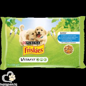 PURINA - FRISKIES пауч за малки кученца до 12 месеца, с пиле и морков, 4 х 100 гр.