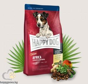 Happy Dog - Supreme Mini Africa суха храна за кучета над 12 месеца, малки и мини породи, с месо от щраус и картофи, 1 кг.
