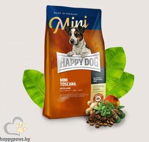 Happy Dog - Supreme Mini Toscana суха храна за кучета над 12 месеца, за мини и малки породи до 10 кг., с патешко, сьомга, билки, 4 кг.
