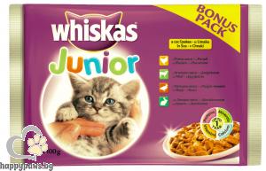 Whiskas - Pouch Junior пауч за котки от 1 до 12 месеца, пилешко месо, 4 х 100 гр.
