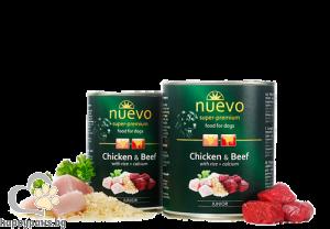Nuevo - Dog Junior консервирана храна с пилешко и говеждо месо, ориз и калции, за кучета от 1 до 12 месеца, 800 гр.
