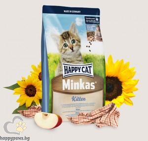 Happy Cat - Minkas Kitten суха пълноценна храна с пилешко месо, за котки от 2 до 12 месеца, 10 кг.