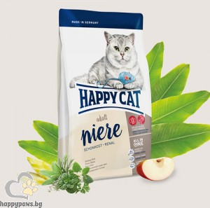 Happy Cat - Niere Schonkost Renal суха храна, която поддържа функцията на бъбреците, за котки над 12 месеца, с говеждо и пилешко месо, 300 гр.