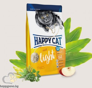 Happy Cat - Light суха храна за кастрирани котки и котки с наднормено тегло, с пилешко, говеждо, сьомга, 300 гр.