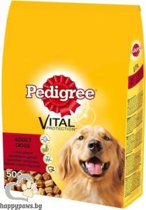 Pedigree - Adult суха, пълноценна храна за кучета над 12 месеца, средни и големи породи, различни вкусове, 0.5 кг.