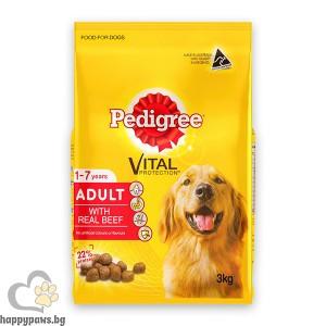 Pedigree - Adult суха, пълноценна храна за кучета над 12 месеца, средни и големи породи, различни вкусове, 2.6 кг.