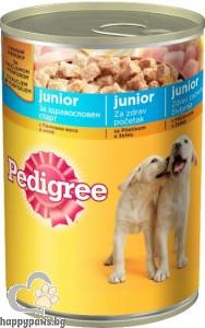 Pedigree - Junior консервирана храна с пилешко месо, за кучета от 1 до 12 месеца, 400 гр.
