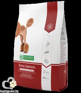 Natures Protection - Adult Extra Salmon суха храна за кучета от всички породи над 1 годишна възраст, със сьомга, 2 кг.