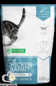 Natures Protection - пауч с пиле и заек за подрастващи котки, 100гр