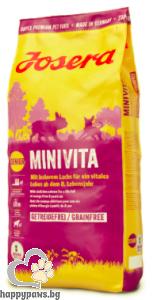 Josera - MiniVita Grain Free суха храна за кучета в напреднала възраст от дребни породи със сьомга, 900 гр.