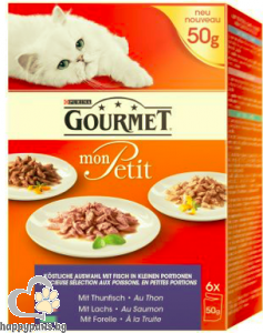 Gourmet - Mon Petit пауч за котки в зряла възраст, различни вкусове 6х50 гр.