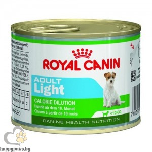 Royal Canin - Adult Light консервирана храна за кучета от дребни породи, със склонни към натруване на излишни килограми, над 10 месечна възраст, 195 гр.
