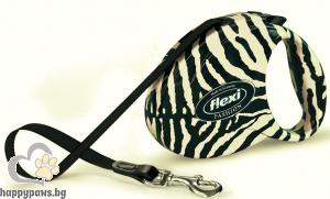 Flexi - Fashion Ladies - автоматичен повод за куче до 25 кг. зебра в бяло лента 5 метра