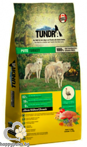 Tundra - Turkey Grain Free суха храна за израснали кучета над 1 година с пуйка, 11.34 кг.