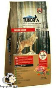 Tundra - Senior Grain Free суха храна за кучета в напреднала възраст с пуйка, пиле, патица и сьомга, 750 гр.