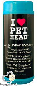 I Love Pet Head - Мокри кърпи за почистванена лапите и козината на куче, 50 бр.