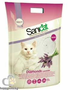 SaniCat - Diamonds Lavender - силиконова котешка тоалетна с аромат на лавандула, 15 л.