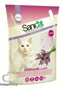 SaniCat - Diamonds Lavender - силиконова котешка тоалетна с аромат на лавандула, 5 л.
