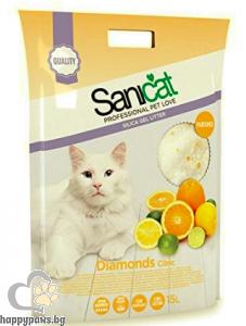 SaniCat - Diamonds Citric силиконова котешка тоалетна с аромат на цитрусови плодове, 15 л.