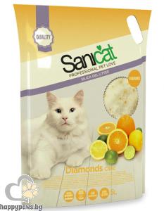 SaniCat - Diamonds Citric силиконова котешка тоалетна с аромат на цитрусови плодове, 5 л.