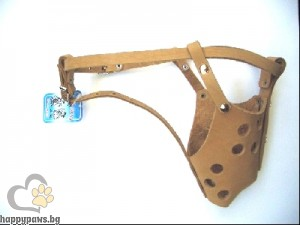 Миазоо - намордник за питбул от естествена кожа