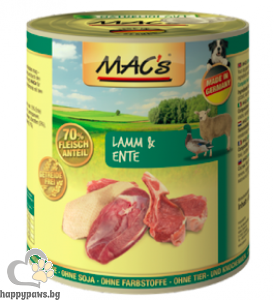 Mac's - Dog консервирана храна за израснали кучета над 1 година с агнешко и патешко месо, 800 гр.