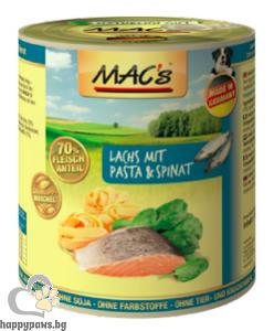 Mac's - Dog консервирана храна за израснали кучета над 1 година със сьомга, паста и спанак, 800 гр.