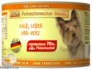 Mac's - Dog консервирана храна за израснали кучета над 1 година с телешко,дроб и сърца, 200 гр.