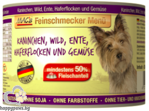 Mac's - Dog консервирана храна за израснали кучета над 1 година с заек,дивеч и патица, 200 гр.