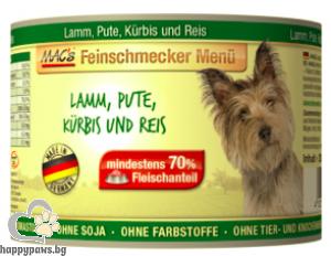 Mac's - Dog консервирана храна за израснали кучета над 1 година с агнешко,пуйка,тиква и ориз, 200 гр.