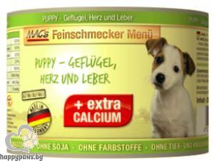 Mac's - Dog Puppy консервирана храна за подрастващи кучета до 1 година с пилешко,сърца и дроб, 200 гр.