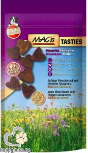 Mac's - Dog Tasties hearts лакомство за кучета с пилешко месо, 60 гр.
