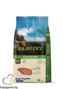 Bravery - Grain Free MINI Puppy Small Breeds суха храна за малки кученца до 1 година от дребни породи с пилешко месо, 7 кг.