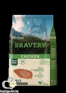 Bravery - Adult Medium and Large Breeds суха храна за израснали кучета над 1 година от средни и едри породи с пилешко месо, 12 кг.