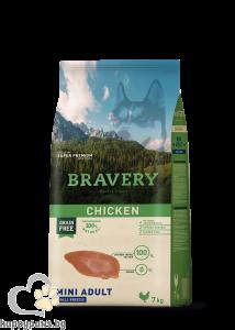 Bravery - Grain Free Mini Adult Small Breeds суха храна за израснали кучета над 1 година от дребни породи с пилешко месо, 7 кг.