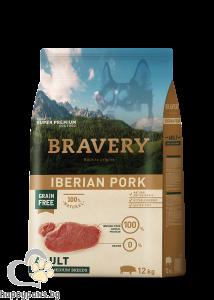 Bravery - Grain Free Adult Medium and Large Breeds суха храна за израснали кучета над 1 година от средни и едри породи с иберийско свинско месо, 12 кг.