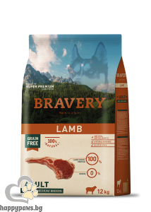 Bravery - Grain Free Adult Medium and Large Breeds суха храна за израснали кучета над 1 година от средни и едри породи с агнешко месо, 12 кг.