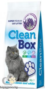 CleanBox - котешка тоалетна от бял бентонит с аромат на лавандула, 5 л.