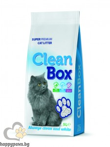 CleanBox - котешка тоалетна от бял бентонит натурална, 5 л.