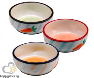Ferplast - Rabbit bowl керамична купичка за зайче, различни цветове 12.7 х 4.8 см, 360 мл.