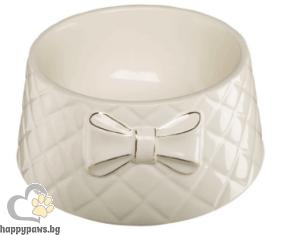 Ferplast - Gemma керамична купичка за храна и вода с декорация панделка, 18 х 8 см - 700 мл.