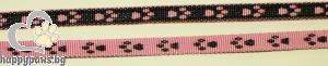 """Миазоо - Нашийник от изкуствена лента спорт с десен """"Лапички"""" в розово, 10 мм х 20-35 см."""