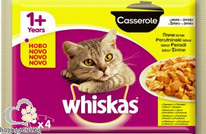 Whiskas - Casserole пауч за израснали котки над 1 година с микс птичи меса в желе, 4х100