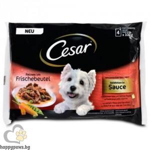 Cesar - Pouch adult пауч за кучета на средна възраст, пилешко и говеждо, 4 x 100 гр.
