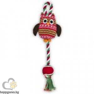 Коледна топка на въже с Бухал
